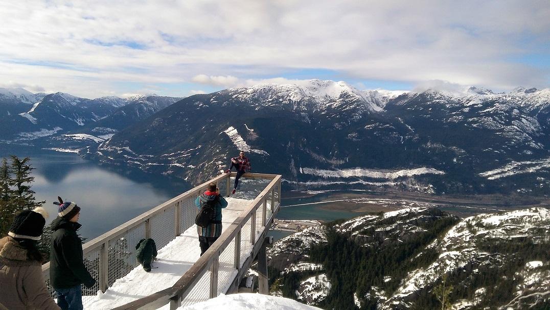 Sea To Sky Gondola, Aussicht auf den Chief und den Howe Sound